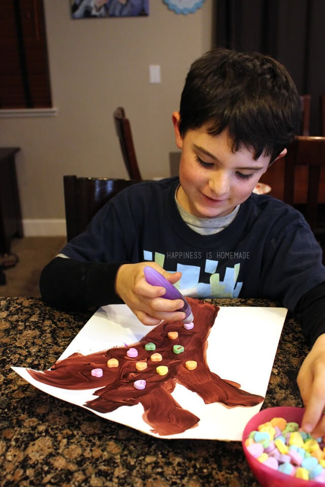 Valentine Kids Craft Project - Conversation Heart Trees