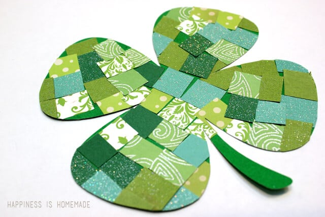Paper Mosaic Four Leaf Clover Kids Craft