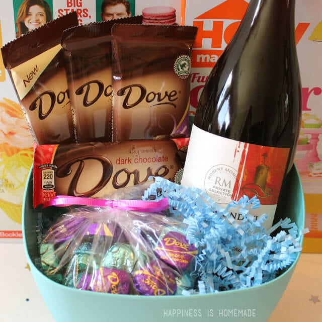 Dove Dark Chocolate and Wine Mother's Day Gift Basket