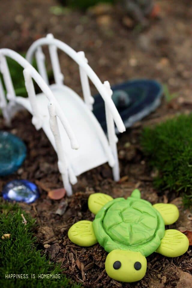 Polymer Clay Turtle Fairy Garden Decoration