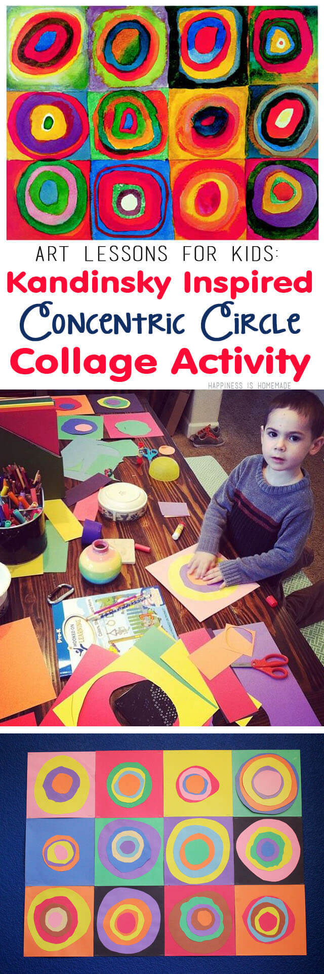 Art Lessons for Kids - Kandinsky Inspired Concentric Circles Collage Activity
