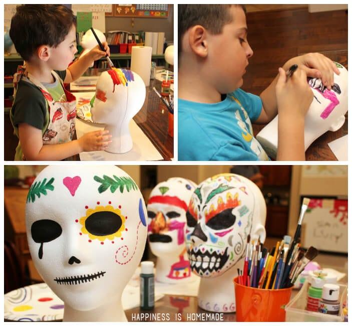 Family Craft Night Activity - Dia de los Muertos sugar skulls