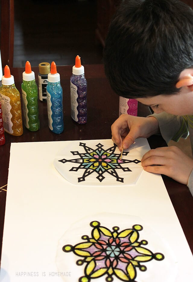 Making Snowflake Suncatchers