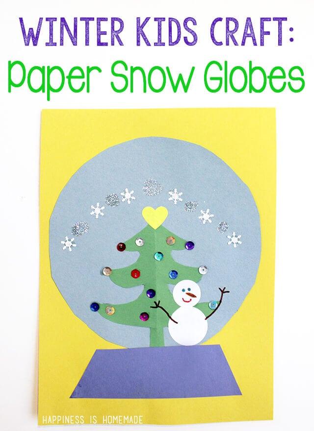 Winter Kids Craft Paper Snow Globe