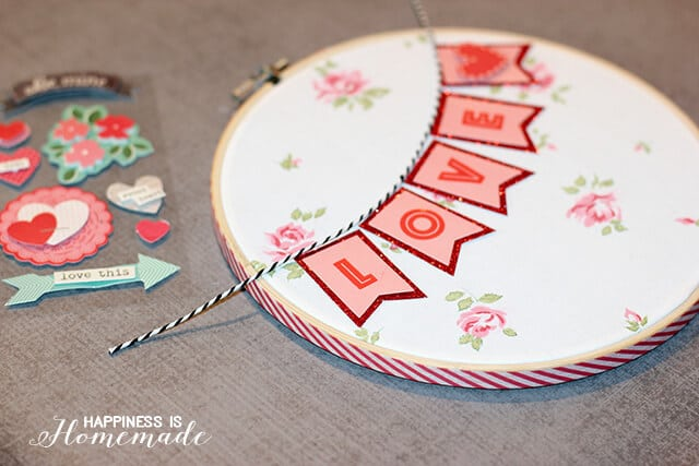 Making Valentine's Day Hoop Art with Target One Spot Items