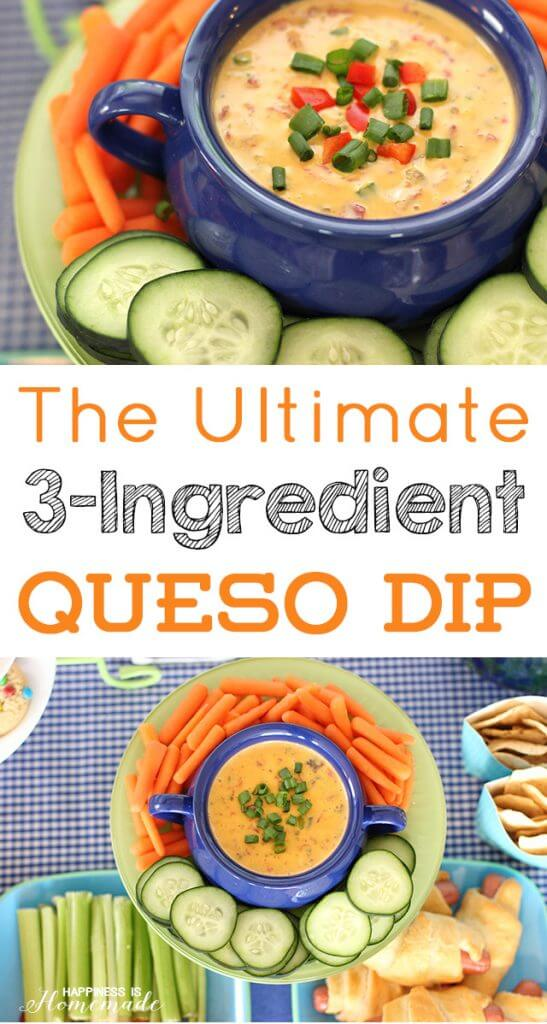 The Ultimate 3-Ingredient Queso Dip Recipe by Happiness is Homemade