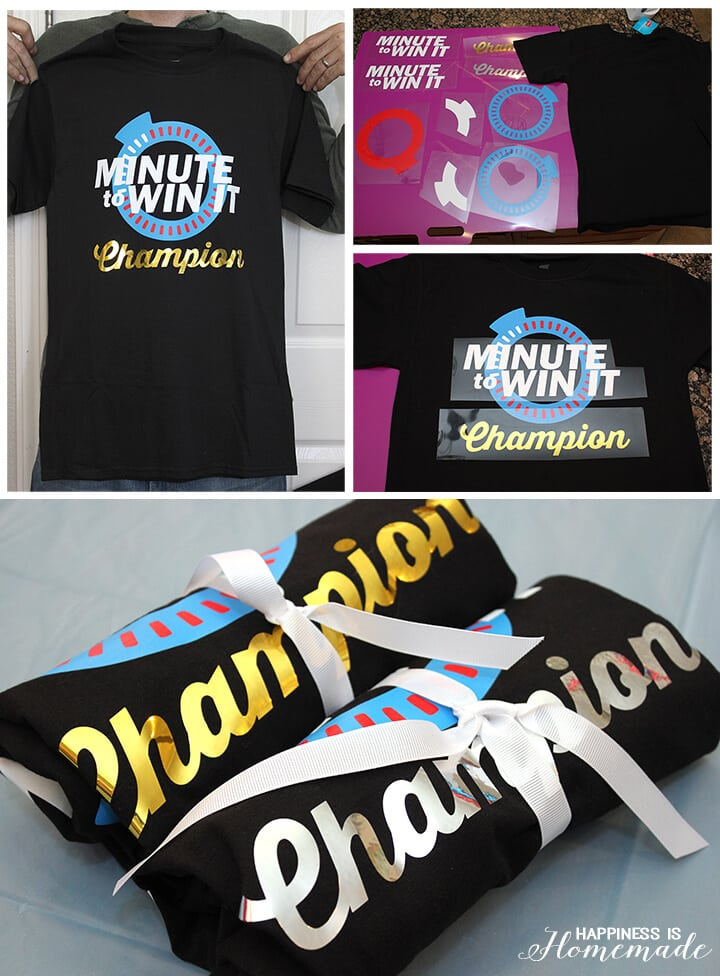 DIY Minute to Win It Champion Shirts