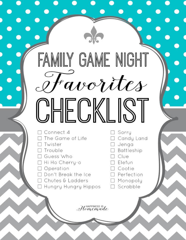 Family Game Night Favorites Checklist