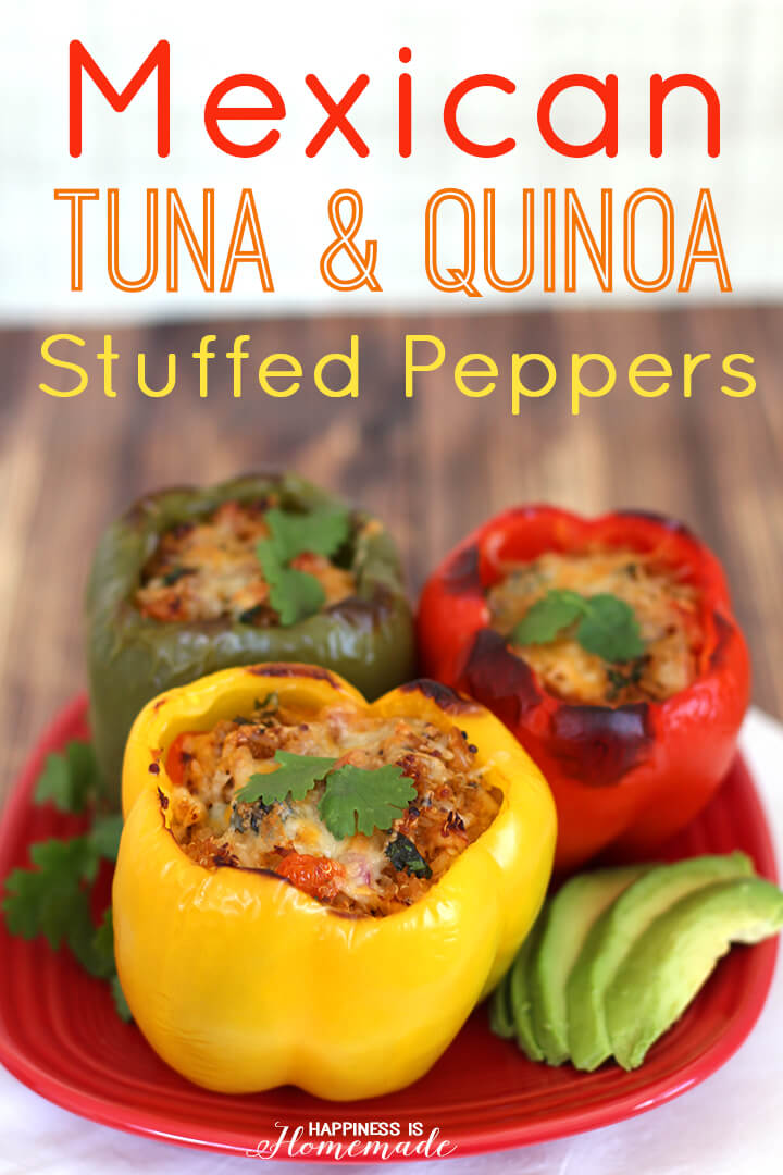 Mexican Tuna and Quinoa Stuffed Bell Peppers
