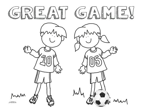 Soccer Great Game Coloring Sheet