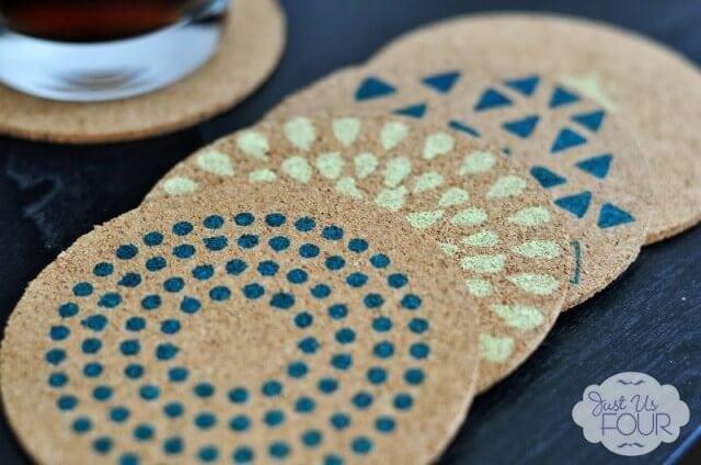 Stenciled-Cork-Coasters-3-640x424