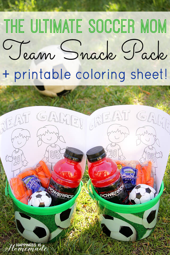 Ultimate Soccer Mom Team Snack Kits and Printable Coloring Sheet