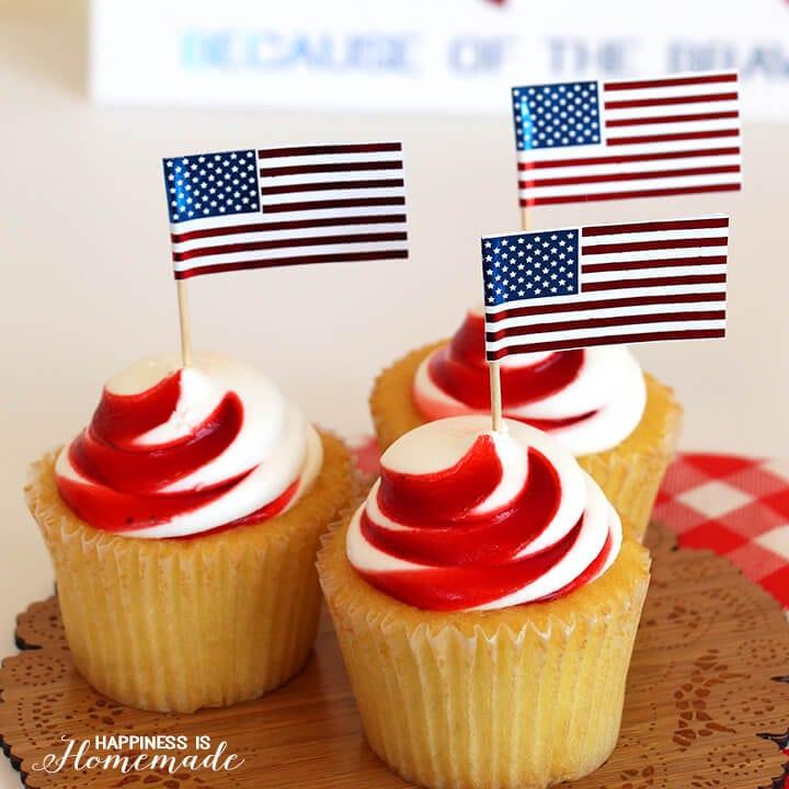 Metallic Flag Cupcake Picks for 4th of July