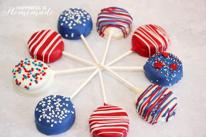Patriotic Red White and Blue Oreo Pops