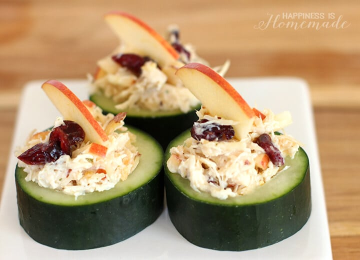 Cranberry Apple Chicken Salad in Cucumber Cups
