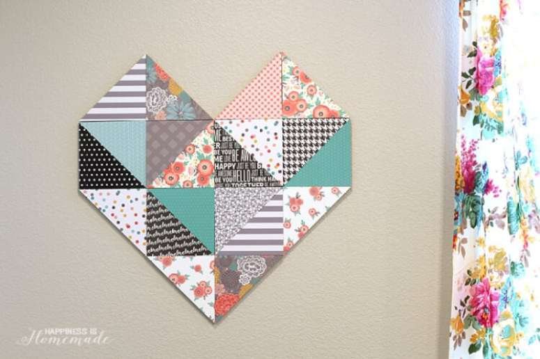 Geometric Heart with Patterned Paper Triangles
