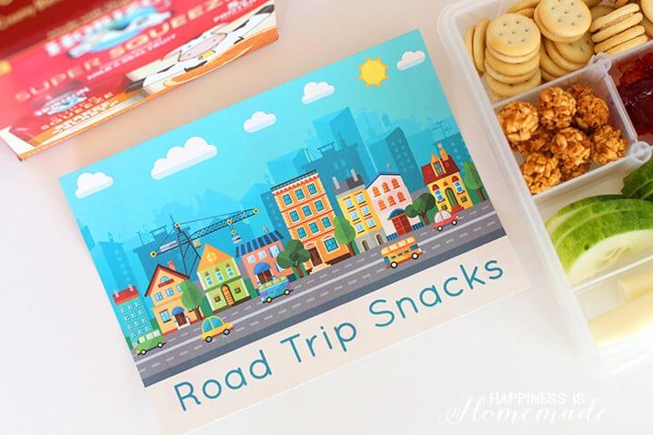 Printable Road Trip Snacks Labels