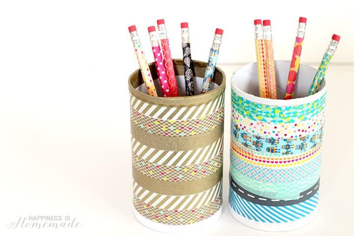 Repurposed Washi Tape Pencil Cup