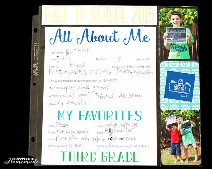 Back to School All About Me Printables with Minc Foil