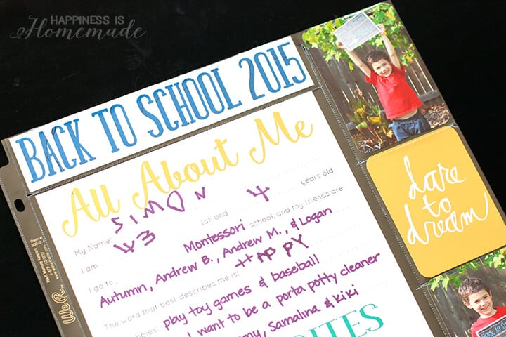 Back to School All About Me Scrapbook Pages
