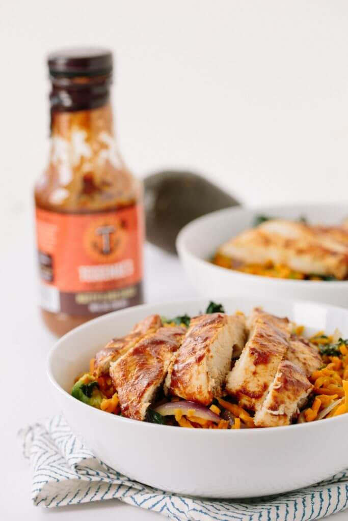 Kale & Sweet Potato Rice Bowl with BBQ Chicken