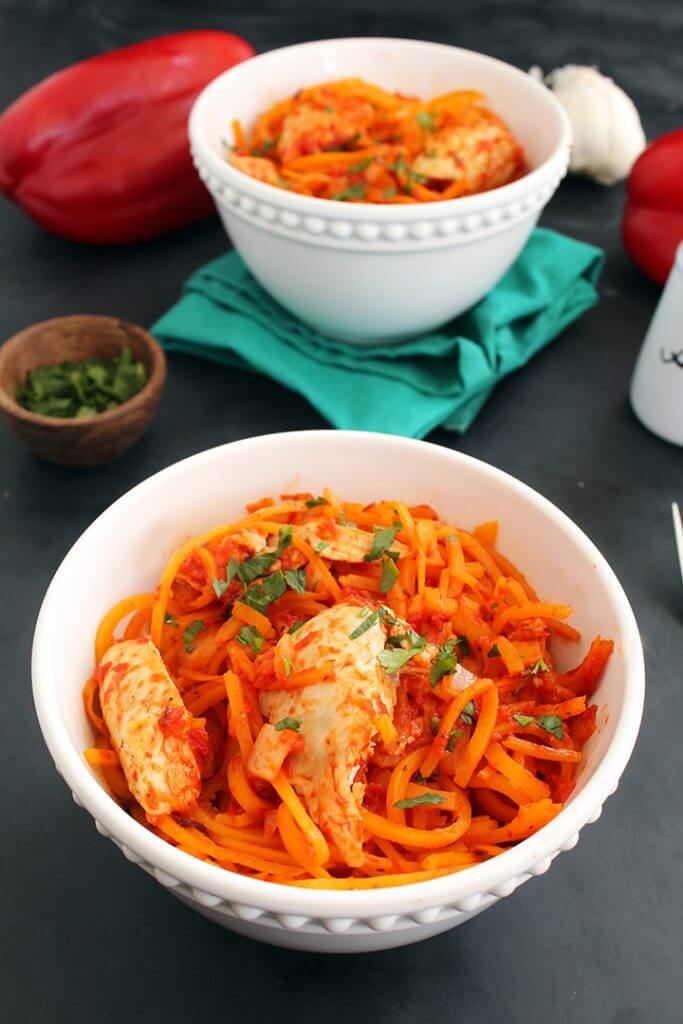Red Pepper and Butternut Squash Noodles with Chicken