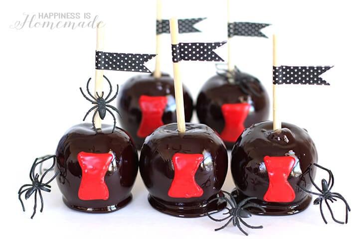 Black Widow Spider Candy Apples