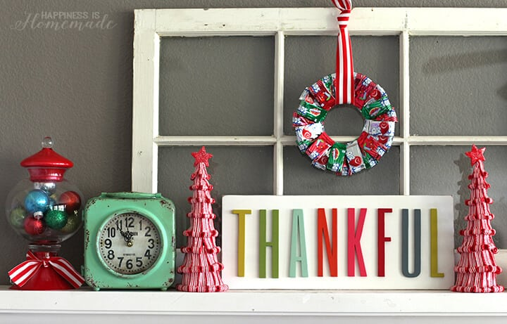 Candy Christmas Mantel with Airheads Wreath