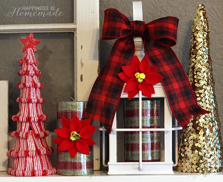Christmas Mantel and Centerpieces with Felt Poinsettias