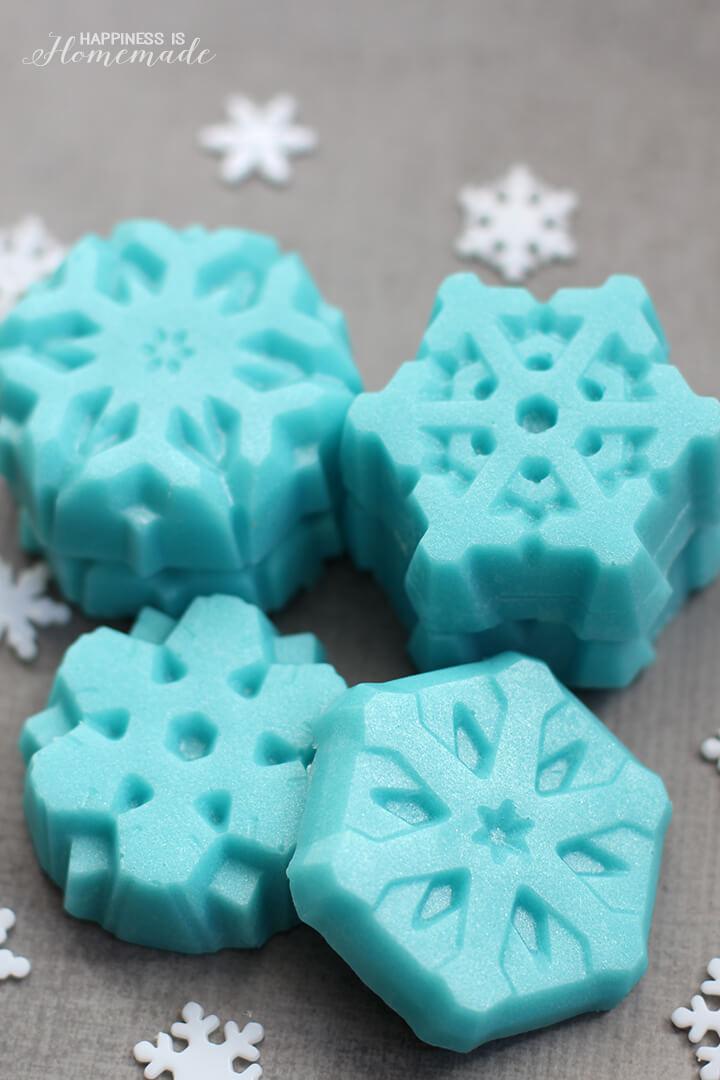 Frozen Blue Shimmery Sugar Scrub Snowflakes