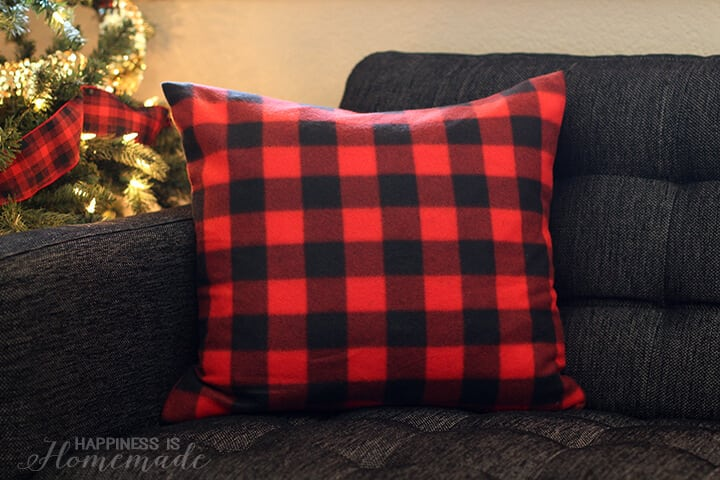 Red Buffalo Check Plaid Pillows from a Target Dollar Spot Blanket