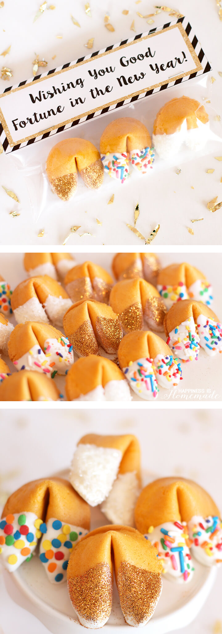 How to Make Glitter and Sprinkled Fortune Cookie Party Favors for New Years Eve