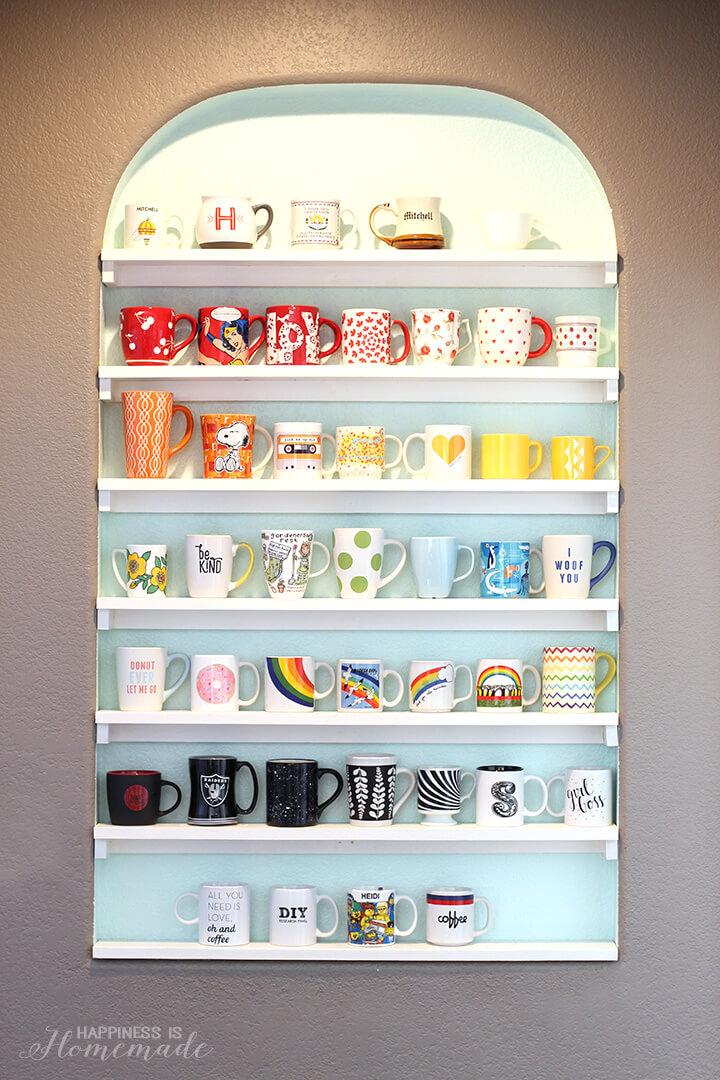 DIY Mug Collection Storage and Display Shelves
