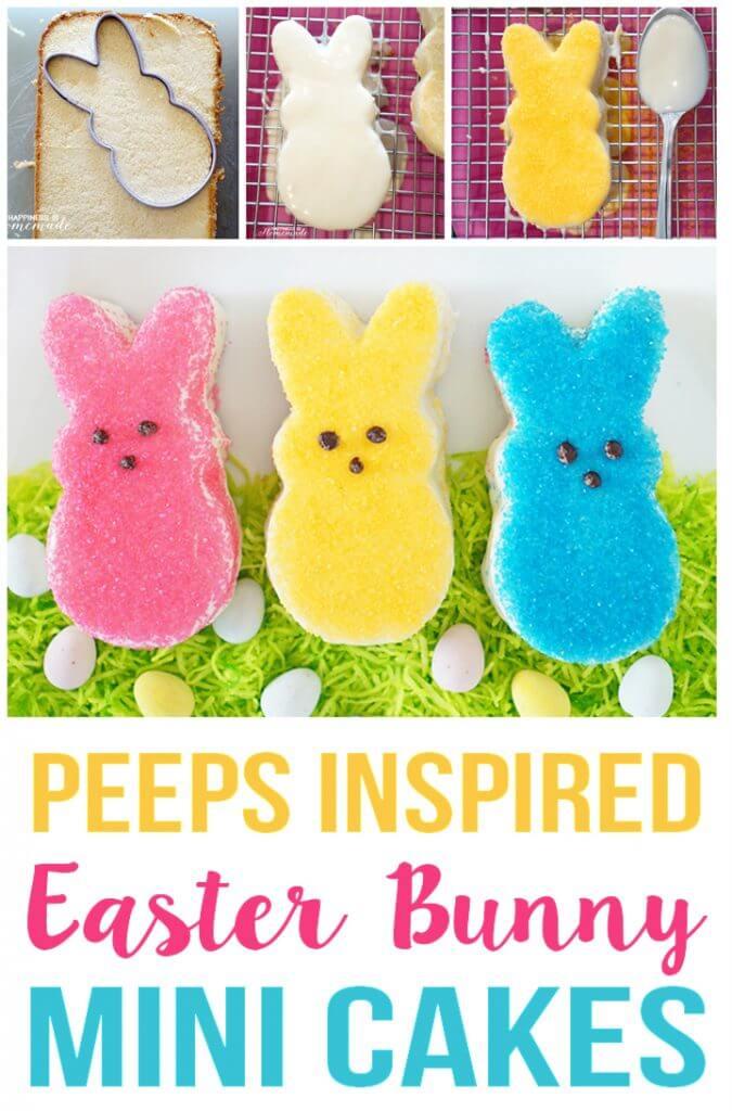 Peeps Inspired Mini Easter Bunny Cakes
