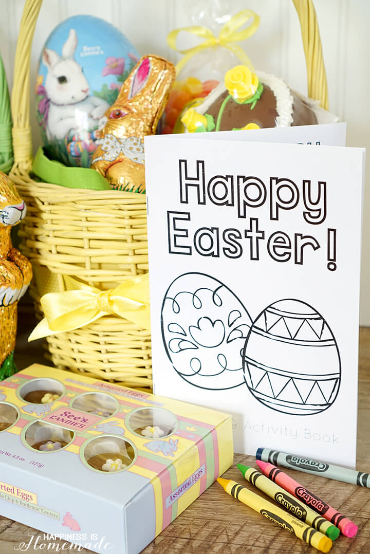 Easter Basket with See's Candy and Printable Coloring Books