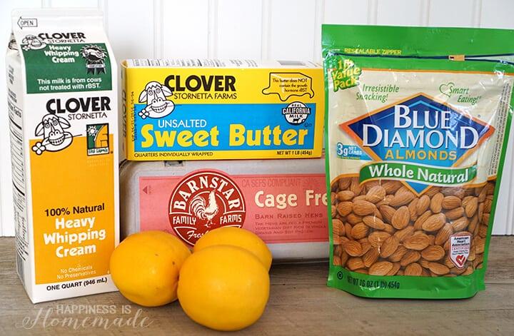 Fresh Local Ingredients for Meyer Lemon Tart with Almond Shortbread