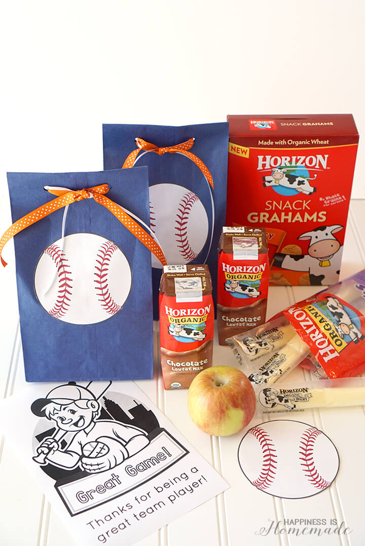 Baseball Team Snack Treat Idea with Free Printables