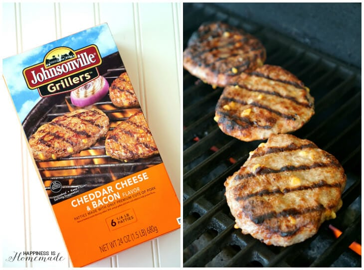 Johnsonville Cheddar Cheese and Bacon Grillers on the BBQ