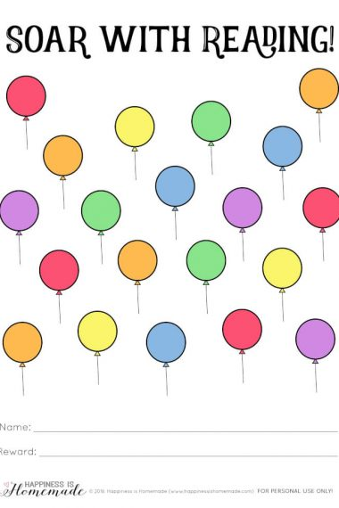 """""""Soar with Reading"""" printable reading rewards chart with balloons"""