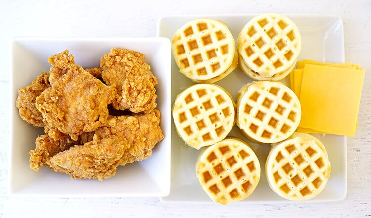 assembling-chicken-and-waffle-sliders