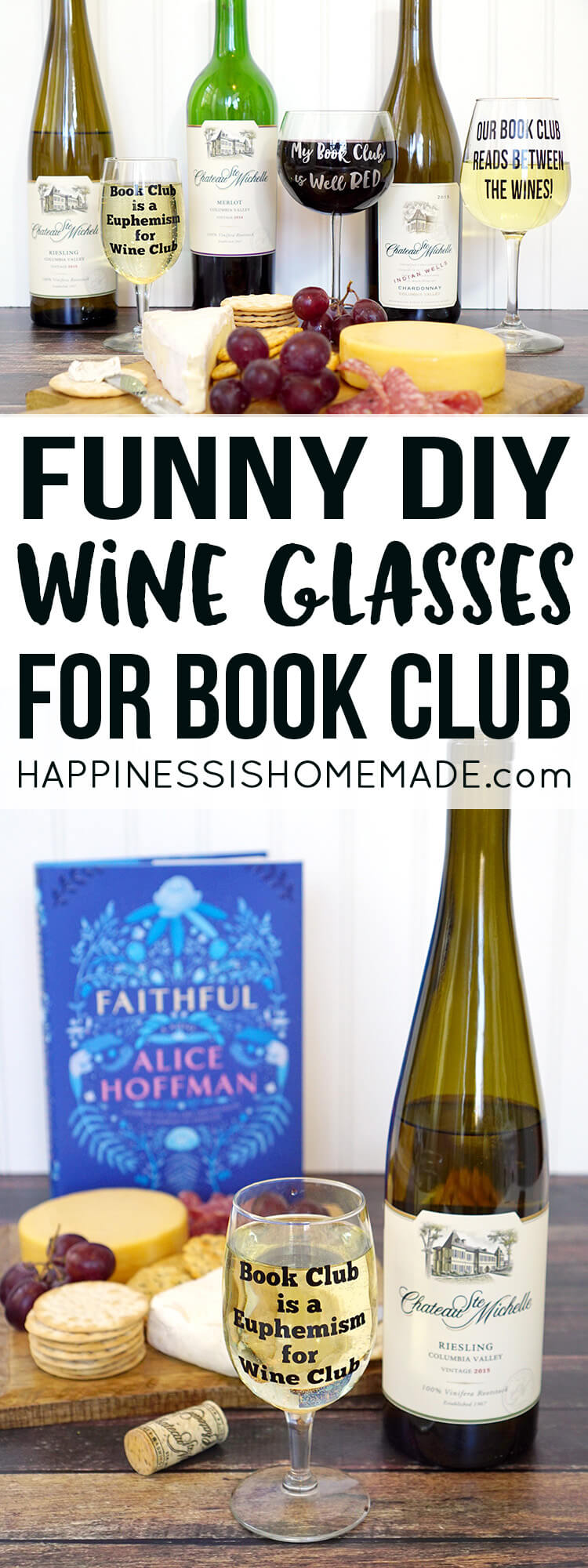 Funny (punny!) DIY Wine Glasses - perfect for book club gifts + 10 Must-Read Winter Book Club Favorites