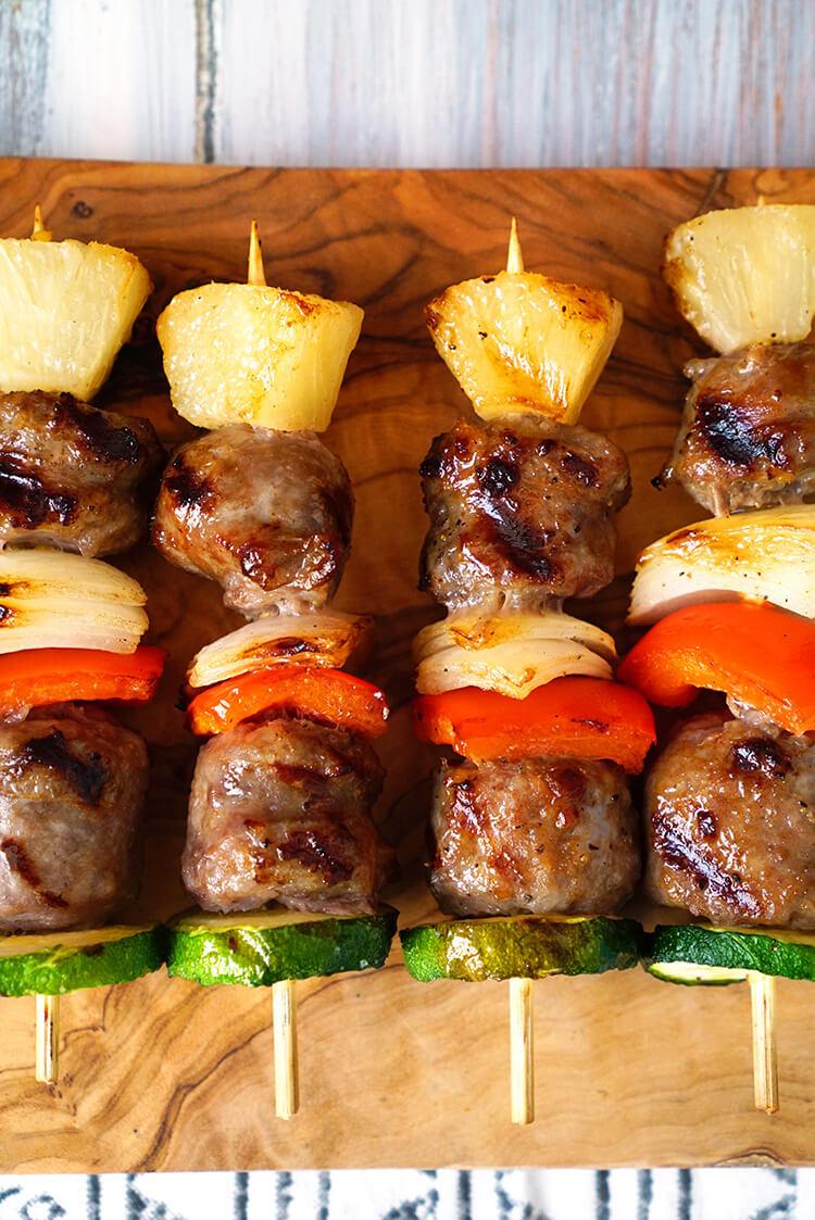 Johnsonville Bratwurst Brats and Vegetable Kebab Skewers