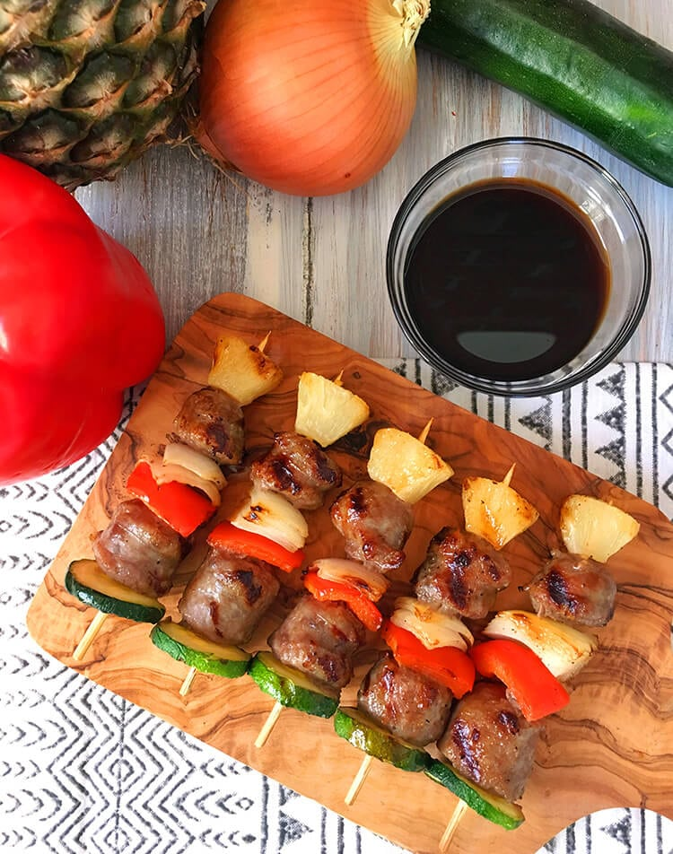 Vegetable and Sausage Kebabs for The Big Game