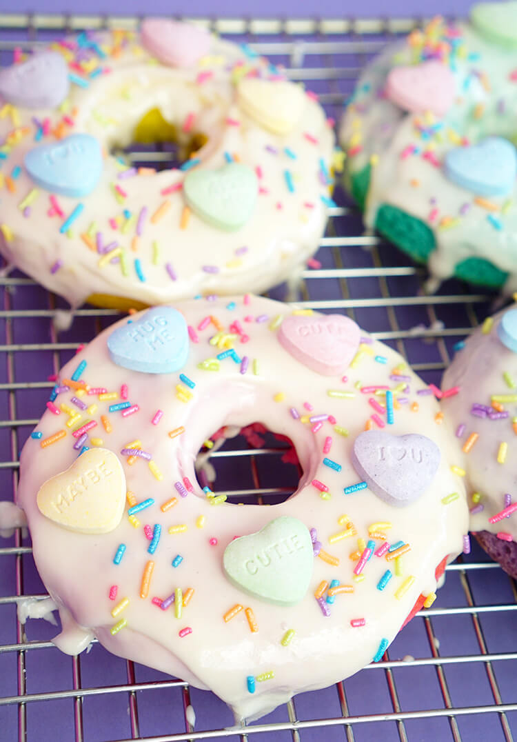 Donuts with SweeTART Hearts for Valentine's Day