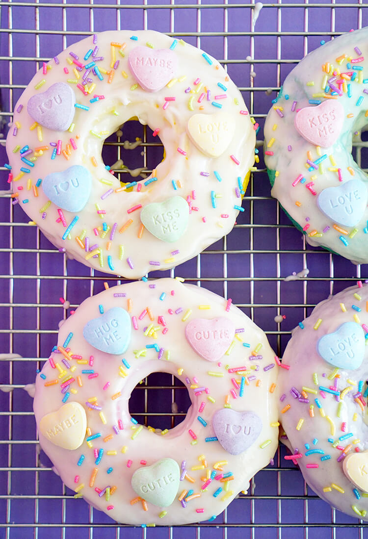 Frosted SweeTART Heart Donuts