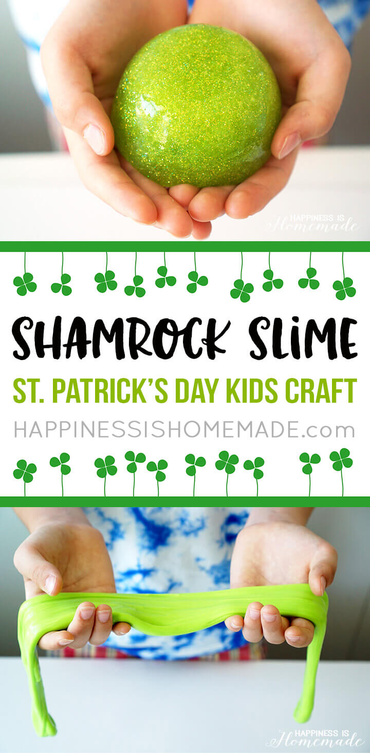 Shamrock Slime is a quick and easy St. Patrick's Day kids craft that everyone will enjoy! Whip up a batch of this homemade DIY slime for lots of gooey fun!