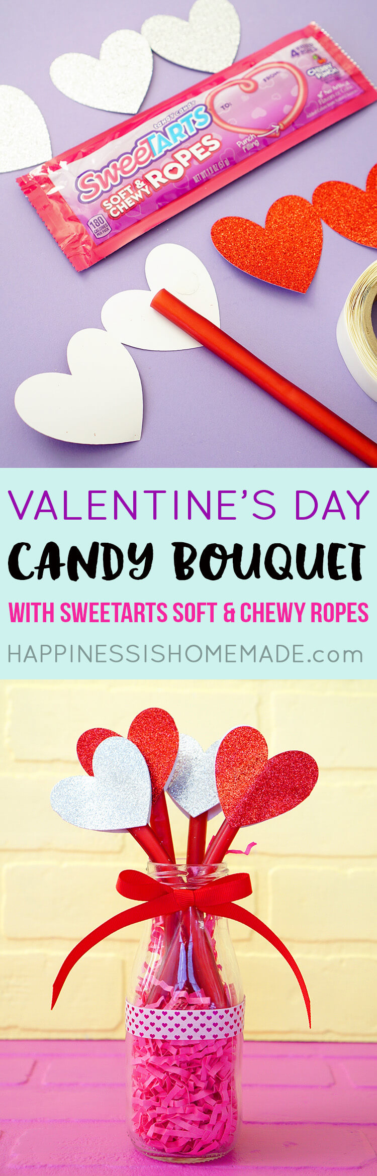 SweeTART Rope Candy Heart Bouquet is an Easy Valentine's Day Gift Idea