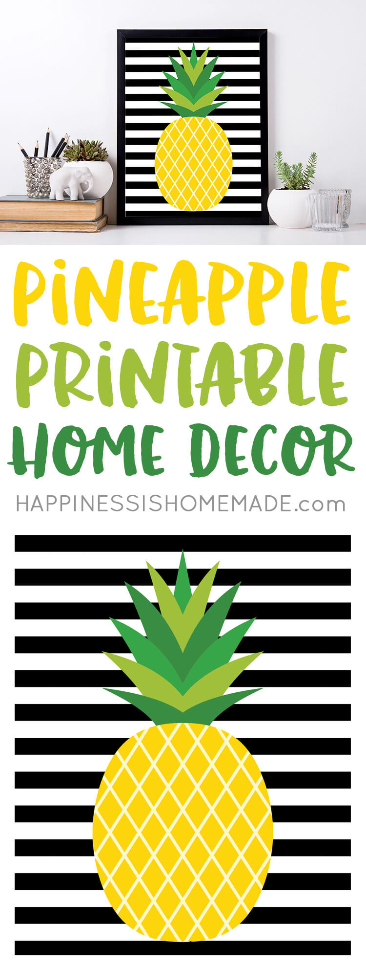 """""""If you were a fruit, you'd be a fine-apple!"""" These cute pineapple printables will make a fantastic and stylish addition to your home decor! Bonus pineapple gift tags too!"""