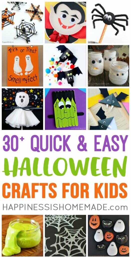 These quick and easy Halloween kids crafts can be made in under 30 minutes using items that you have around the house! No special tools or skills required!