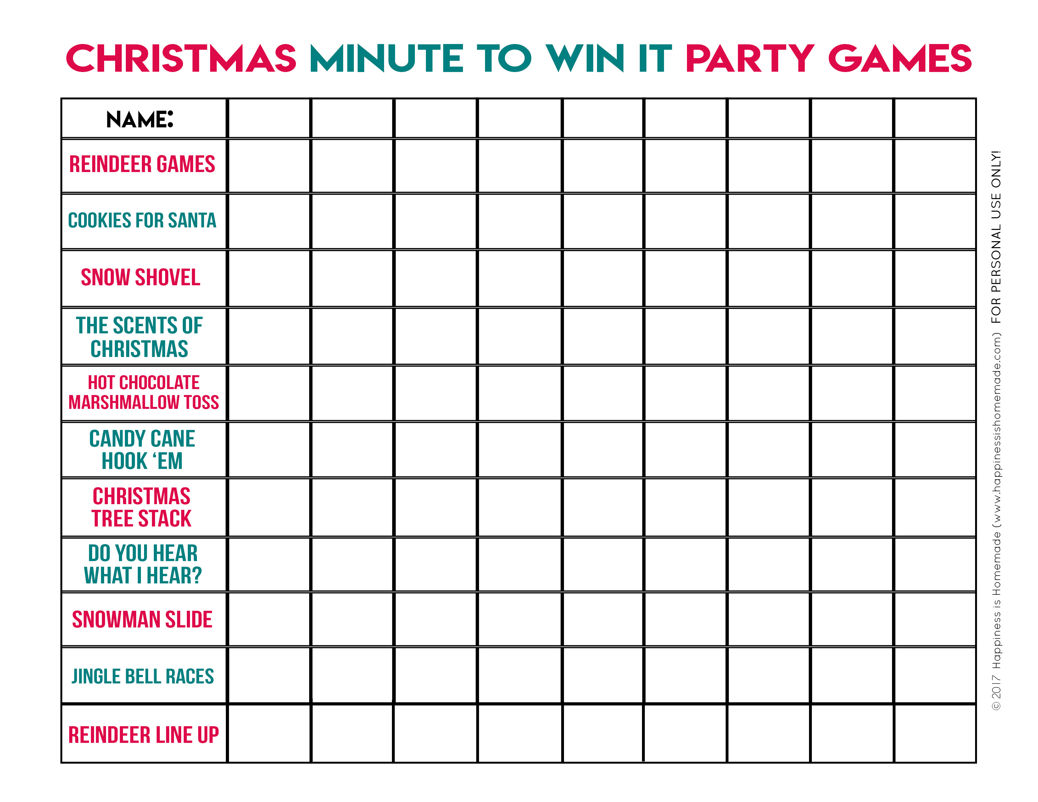 Minute To Win It Christmas Games For All Ages